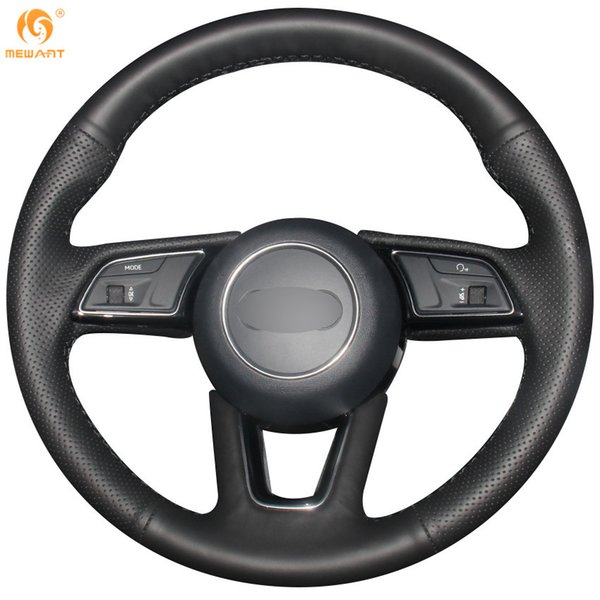Mewant Black Genuine Leather Car Steering Wheel Cover for Audi A5 2017