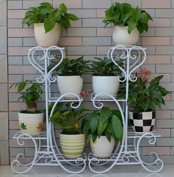 Cadre de fleur en fer vintage européen 4 couches jardin cour