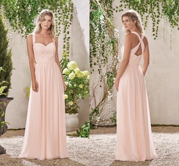 Baby Pink A Line Bridesmaid Dresses Sweetheart Lace Chiffon Wedding Bridesmaid Gowns For Summer Sexy Back Design Evening Party Dresses