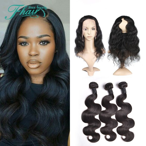 8A No Tangle No Shedding Natural Color Best Brazilian Body Wave 3 Bundles Hair With 360 Lace Band Frontal Free Shipping DHL