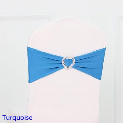 Modern Turquoise Colour Spandex Sash Lycra Bands Stretch Elastic Chair Ribbon Sash With Love Heart Buckle Wedding Hotel Home Banquet Party