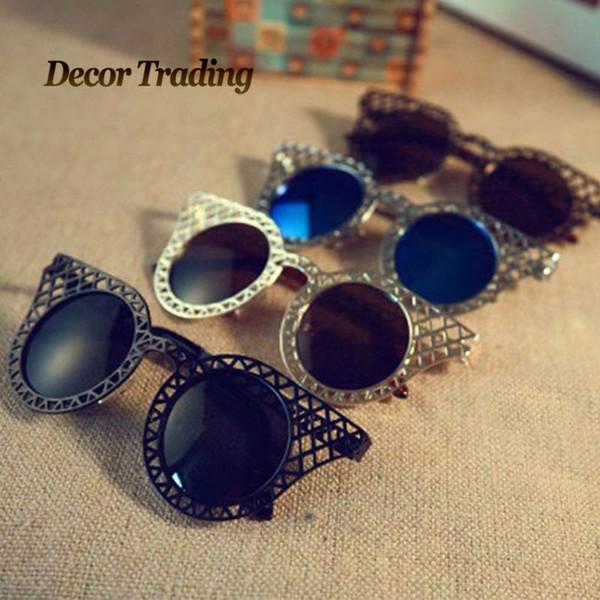 Wholesale-Real Picture 2016 Sonnenbrille Metallrahmen Sonnenbrille Für Frauen Marke Designer Vintage Sonnenbrille Oculos Solar Feminino 29422