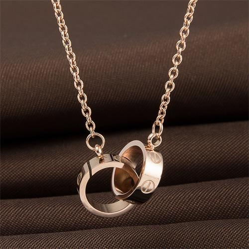 Luxury titanium steel Material Necklace with 2 circles pendant,Rose gold color Simple and fashion style, no fade