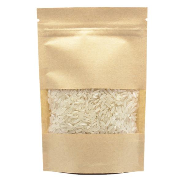 50 Pz / lotto Carta Kraft con Finestre trasparenti Stand Up Packaging Doypack Cibo Tè Dry Flower Party Bags Borsa con chiusura lampo richiudibile