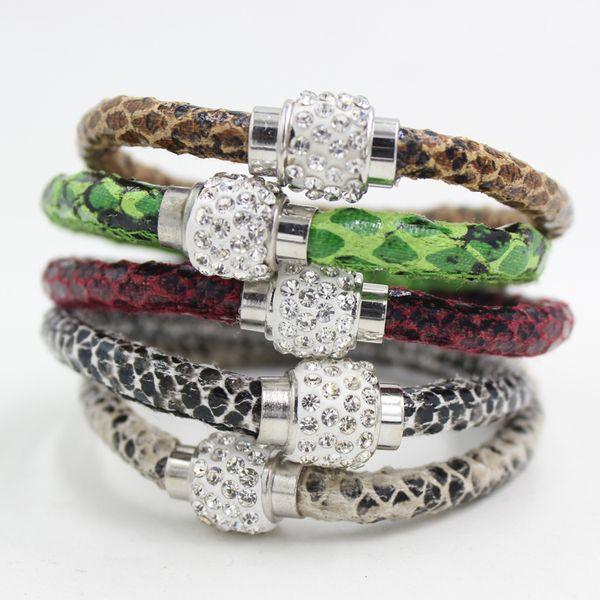 5 Couleurs Nouvelle Perle Bracelet Serpent PU Bracelet En Cuir et CZ Disco Cristal Fermoir Magnétique Bracelet Livraison Gratuite Bijoux