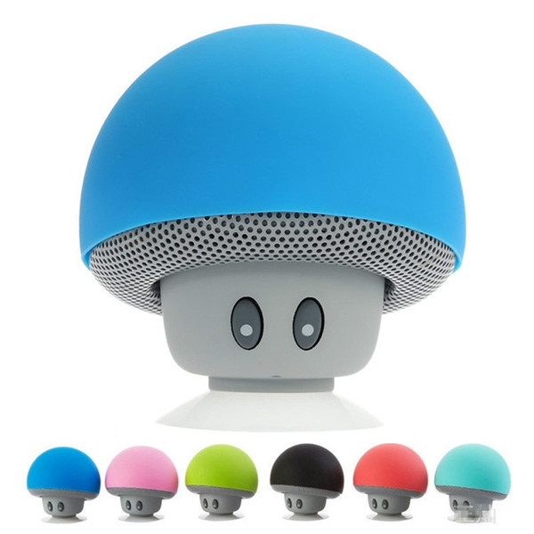 lovely mini mushroom Car speaker subwoofer Bluetooth wireless speaker silicone sucker phone stand With retail packaging MOQ:20PCS