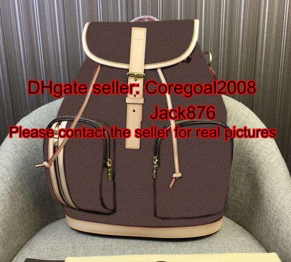 Brown flower BOSPHORE m40107 womens Drawstring backpack school satchel leather handbag shoulder flap bag purse France luxury brand designer