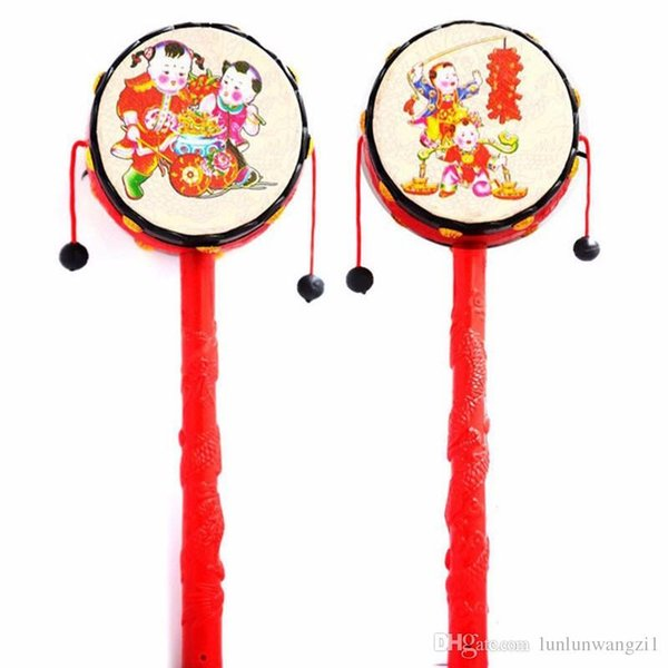 Baby Kids Cartoon Hand Bell Toy Wooden Rattle Drum Musical Instrument Chinese Traditional Rattle Drum Spin Toys For Baby