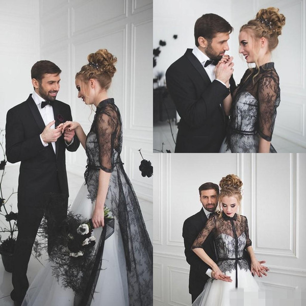 Vintage Black And White Wedding Dresses With Half Sleeves 2019 gothic Cheap Shirt Collar Lace Tulle Long Bridal Gowns Custom Made China