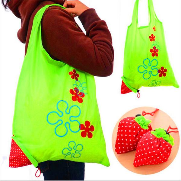 best selling Fashion Nylon Portable Creative Strawberry Foldable Shopping Bag Reusable Eco-Friendly Shopping Bags Tote Super Market Bag Pouch Handbag