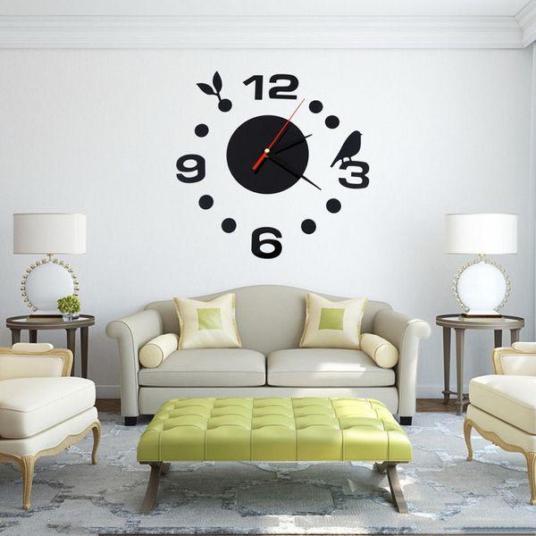 best selling Wholesale- Home Decoration Brief 3D Acrylic Living Room Wall Clock Creative Bird DIY Wall Stickers Black Quartz Clocks VB506 P56