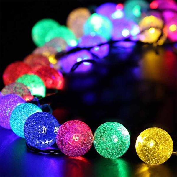 HOTOOK Novelty Solar Lamps Led Christmas Lights Outdoor 6m 30LEDs Crystal Ball String Lamp Pendant Fairy Wedding Garden Garland