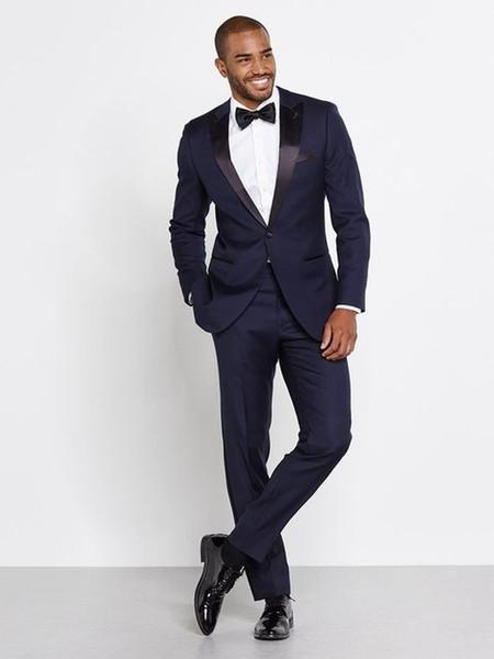 Al por mayor-2016 Azul marino Hombres Trajes de boda por encargo Slim Fit novio esmoquin para hombre padrino de boda mejor hombre traje chaqueta + pantalones + arco