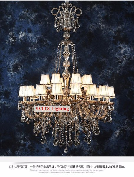 Antique Large black smoke crystal chandelier lighting for church led gray smoke chandelier living room hotel chandelier led pendant lights