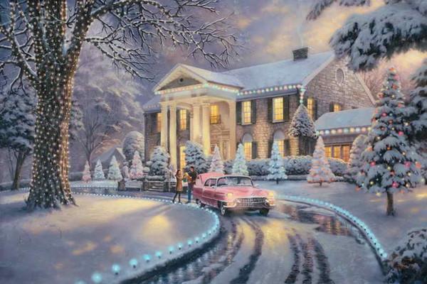 Грейсленд Рождество Томас Кинкейд картины маслом искусство стены современный HD печать на холсте украшения без рамки
