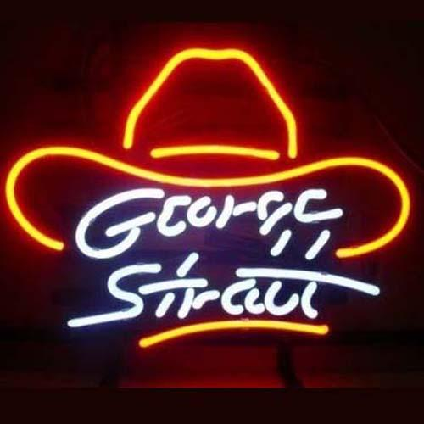 "George Stratt Hero Hat Neon Sign Handmade Custom Real Glass Store Beer Bar KTV Club Party Advertising Display Art Neon Signs 17""X14"""