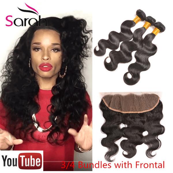 13x4 Burmese body Wave Lace Frontal Closure With Bundles Queen Hair beauty mink Virgin Human Hair weave With frontal Closure Bundles