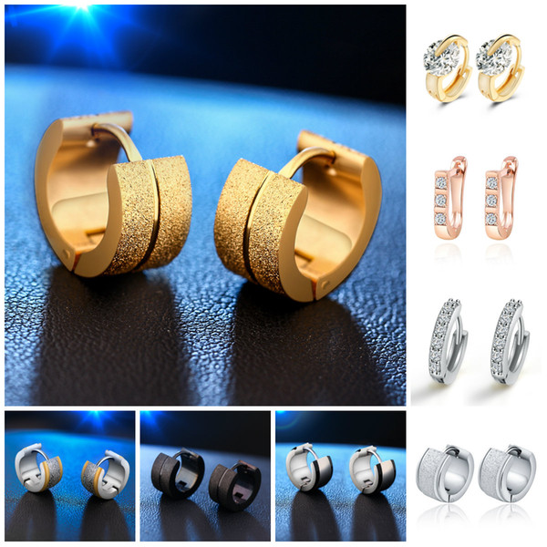 top popular Channel Earrings Hoop Mens Stainless Steel Stud Earrings For Women Hanging Crystal Diamond Sterling Silver 14K Rose Gold Mens Hoop Earrings 2019