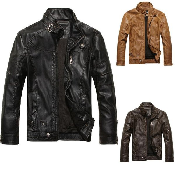 Mens Motorcycle Leather Jackets Slim Fit stand collar Faux Leather Coat Long Sleeve Black Moto Jackets M-3XL Free Shipping