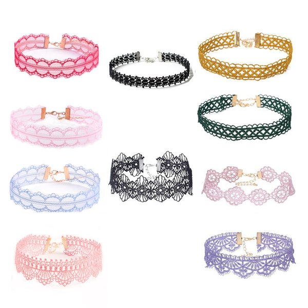Hot sale Lace Choker Necklaces for Women with Pendant Charm designs different colors and creative style CA351
