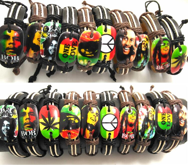 20 pcs Bob Marley Bracelets en cuir Hommes Légende Jamaïque Bracelets Punk Cool Bangles Gros HOT Bijoux Lots
