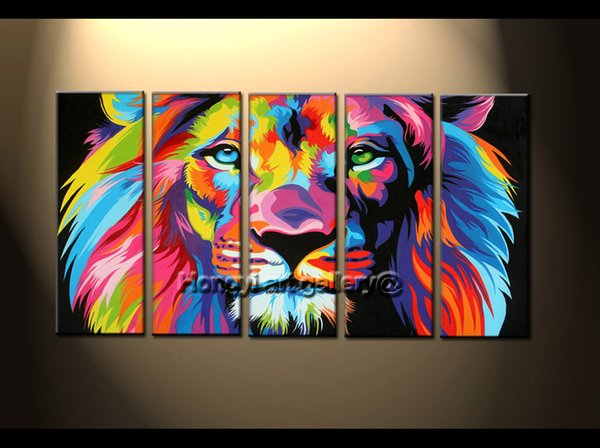 100% Handpainted Modern Abstract Animal Oil painting on canvas Art Home Decoration Modern Wall Art Picture color, Lion king 5 Pieces Sets