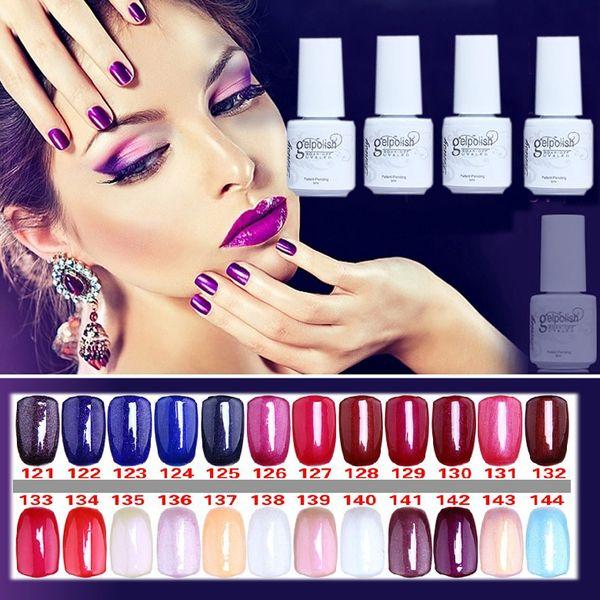 Wholesale-NO.121-144 5ML MINI PACK 2015 Brand New Gelpolish Soak Off UV Gel Polish BASE TOP COAT Primer Nail Art Color Foundation