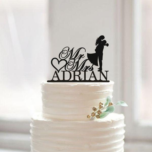 Bolo de casamento por atacado-moderno Topper com sobrenome, noiva e noivo Silhouette Bolo Topper, Mr and Mrs Cake Topper