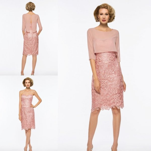 Pink Mother Of The Dresses Two Pieces Chiffon Applique Elegant Formal Dress Evening Wear Plus Size Knee Length Gown Wedding Guest