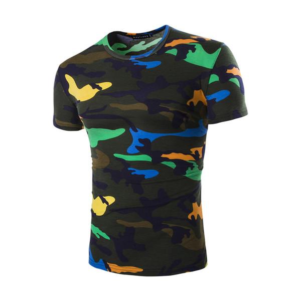 Atacado-camuflagem camiseta homens 2017 verão fresco Design de Fitness Hip Hop algodão Casual Slim Camo Exército tShirt Outwear Moletom T Shirt Homens
