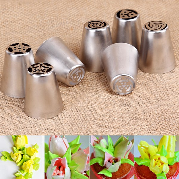 Wholesale- 7Pcs stainless steel Russian Tulip Icing Piping Nozzles for Kitchen Cake Decoration Decor Tips Tool Pastry Cupcake Rose Tips Set