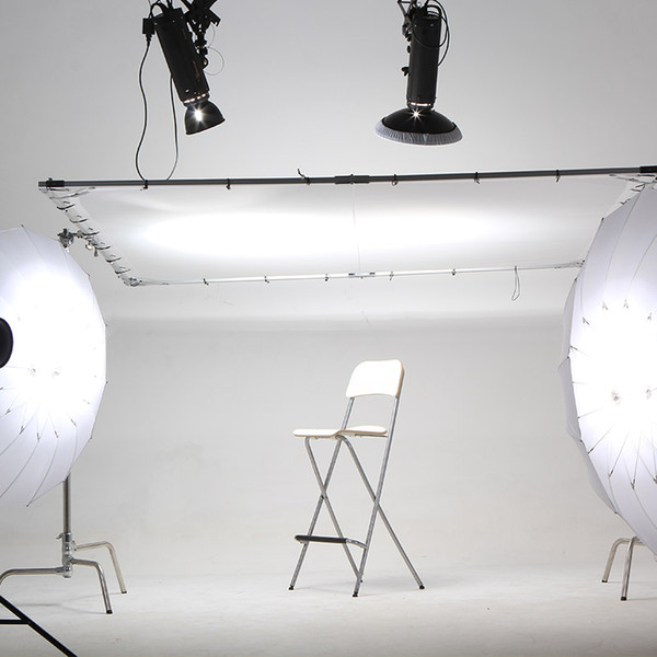 High Quality 2.4 X 2.4M Butterfly Diffusor Reflector Frame 2X Roller Stands Backgroud Kit With White Cloth For Studio HMI Light