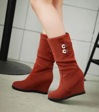 Wholesale New Arrival Hot Sale Specials Super Fashion Influx Warm Sexy Female Snow Warm Suede Buckle Knight Elegant Wedge Boots EU34-39
