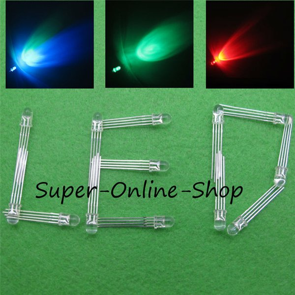 Wholesale- 20 pcs LED 5mm RGB COMMON Anode 4Pin Tri-Color RGB Red Green Blue 4Pins Tri Color Emitting Diodes F5 RGB Water Clear LEDs
