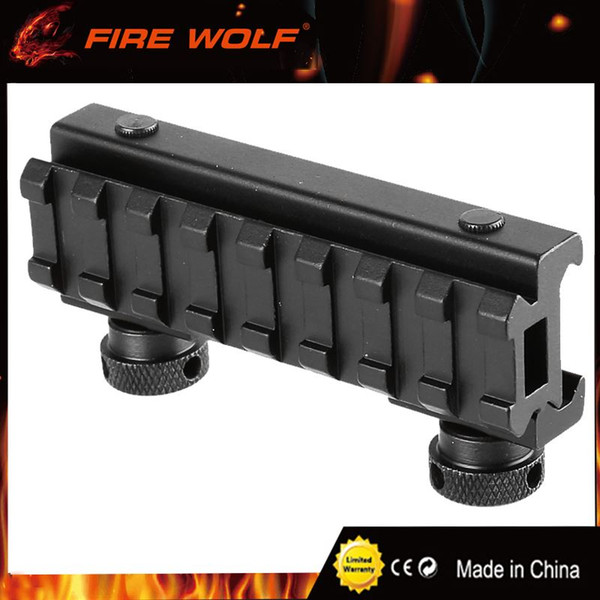 FIRE WOLF Hunting See-Thru AR Flat-Top High 8 Slot Riser Rail Base with Picatinny Weaver Rail 20mm Airsoft Rifle Scope Mount