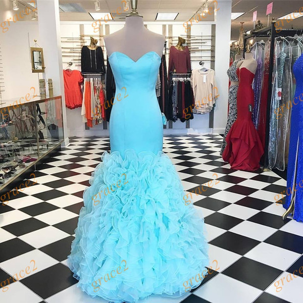 Light Aqua Prom Dresses 2k17 with Tiered Skirts and Lace Up Back Real Images Ruffled Organza Mermaid Prom Dress In Stock