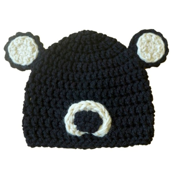 Adorable Black Bear Beanie Hat,Handmade Knit Crochet Baby Boy Girl Animal Hat with Ears,Infant Toddler Photo Prop,Shower Gifts