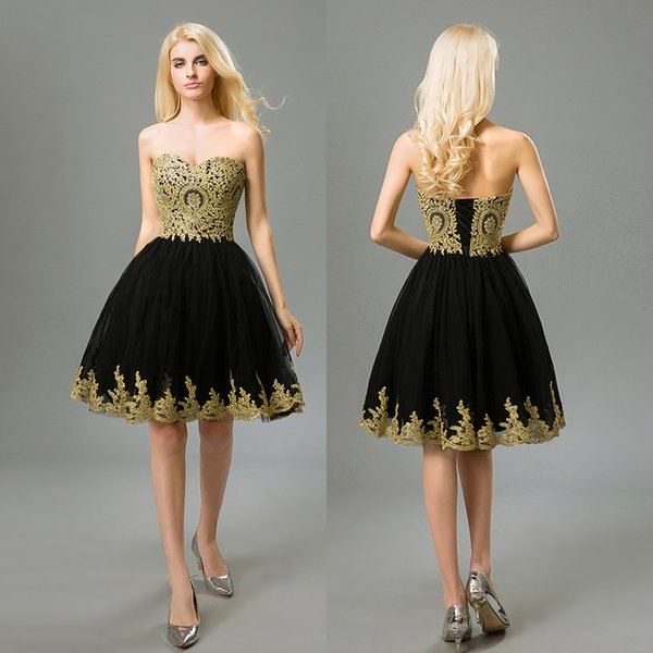 Lace Prom Dresses Short Black Beaded Gold Evening Gowns 2018 Lace Up ...