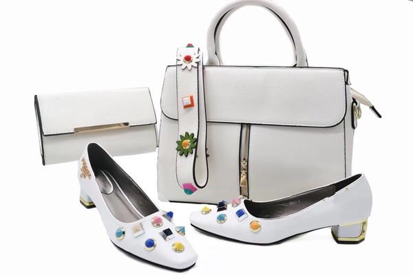 Großhandel Weiße Italienische Designer Schuhe Passende Tasche African Style Mode Schuhe Und Tasche Set Elegante Nigeria Stil Taschen Und Schuhe Von