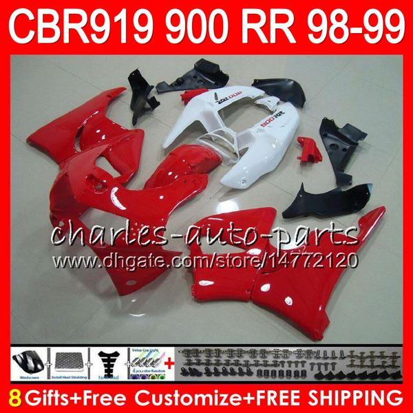 Body For HONDA CBR 919RR CBR900RR CBR919RR 1998 1999 68NO25 TOP red white CBR 900RR CBR919 RR CBR900 RR CBR 919 RR 98 99 Fairing kit 8Gifts