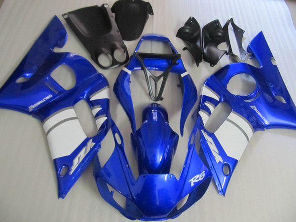 Free 7 gifts fairings for Yamaha YZF R6 98 99 00 01 02 blue white motorcycle fairing kit YZFR6 1998-2002 OT31