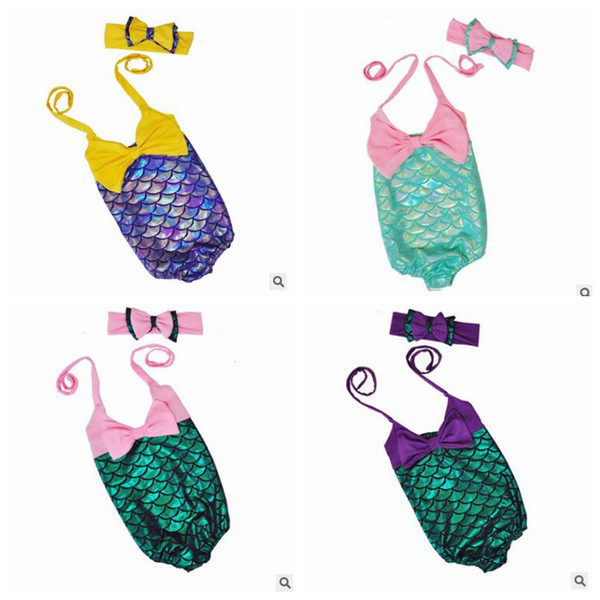 top popular Girl Mermaid Swimwear Kids Mermaid Tail Bathing Suits Bikini Bow Headband Cartoon Headwear Swimsuit Kids Swimming Clothes Clothing Sets J499 2021
