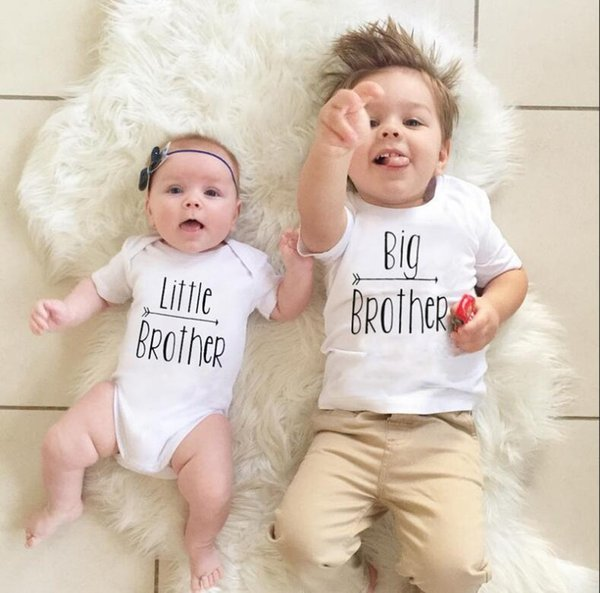 best selling Baby Boys Brothers Matching Outfits Big Brother Letters Print T shirt+ Rompers Family Suits Kids Summer Clothes Baby Family Clothing FOC02