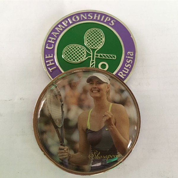 5 pcs The famous Russia Tennis woman player Sharapova sport silver plated colored souvenir 40 mm coin