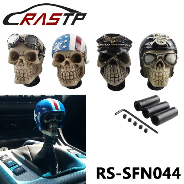 RASTP-Racing engrenagem alavanca de câmbio Devil Head Knob Modificado Resina Knob Soldado Crânio com chapéu e óculos LS-SFN044