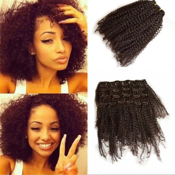 120g Clip in Hair Extensions for Black Women Malaysian Human Hair Afro Kinky Curly Clip ins G-EASY