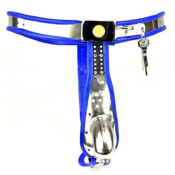 1 sets Male Fully Adjustable Model-T Stainless Steel Premium Chastity Device with Hole Cage Cover BLUE color