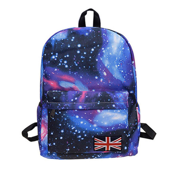 Wholesale- fshion lady Oxford printing backpack Galaxy Stars Universe Space School Book Campus student Backpack British flag bag