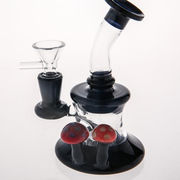Luxury Black Glass Bongs Matching Red Mushroom Lovely Hand Blown Beaker Oil Rigs Water Pipes Recycler Heady Smoking Water Bong Glass Hookahs
