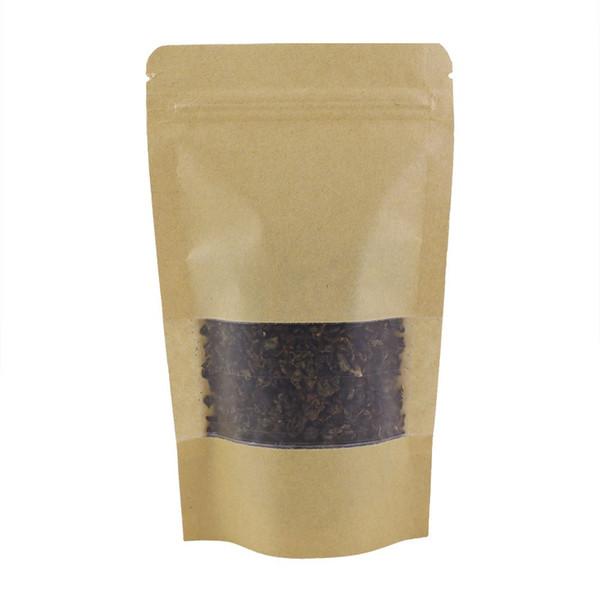 100 шт. / лот 12x20 см встать Resealable бумажная упаковка мешок изогнутый угол коричневый крафт бумажный мешок ziplock для еды чай закуски